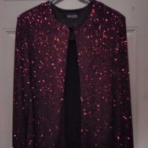 """Xscape"" Dress Jacket - in Red Glitter * X-Large"
